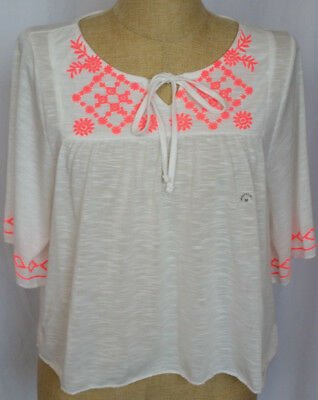 Aeropostale Womens Size Medium Top Shirt White Burnout Coral Peasant Boho NWT