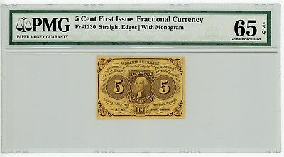 Fr. 1230 5c 1st Issue Fractional Currency #929126-19 65 EPQ PMG With Monogram