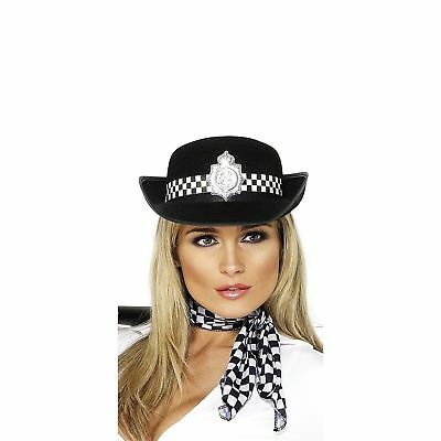 ADULT BLACK WPC POLICE WOMAN HAT FANCY DRESS BRITISH OFFICER COPPER HEN PARTY