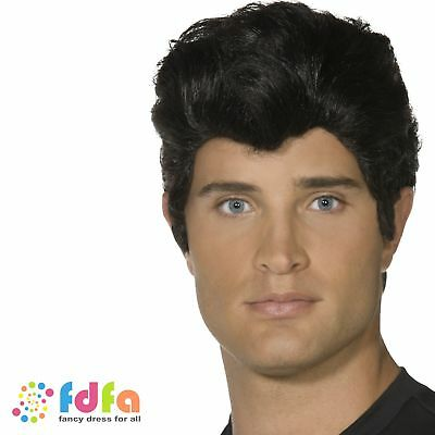 50s Grease Danny Zuco Short Black Wig Mens Adults Fancy Dress Accessory