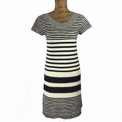 a2e85e3a32c6 ANTHROPOLOGIE DRESS HAVEN Stripe Navy Blue Ivory MAEVE Short Sl Scoop Tee  XSmall - $29.95 | PicClick
