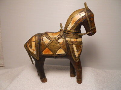 Rustic Carved Wooden Horse Figurine w/ Shell & Brass Inlays
