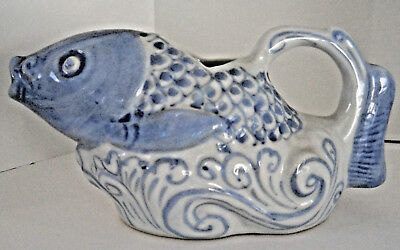 "Chinese oriental porcelain fish pitcher blue white 3 1/4"" x 7"""