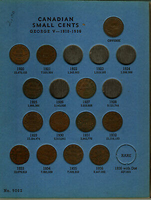 Starter Set Of Small Canadian Cents In A Folder