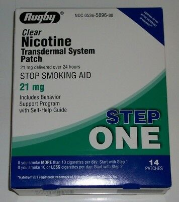 RUGBY Box of 14 STEP ONE 21mg CLEAR Nicotine Transdermal Patches EXP 3/20