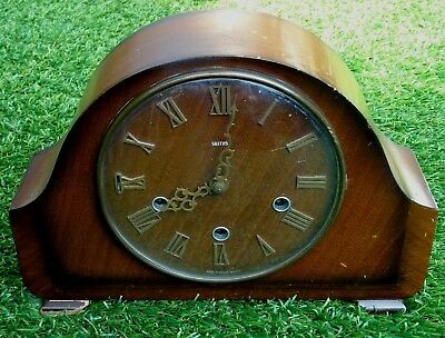 An Old Smiths Wind Up Westminster Chime Mantle Clock. Balance Escapement. No Key