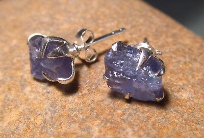 Sterling silver everyday rough tanzanite 9x6mm approx, STUD earrings.