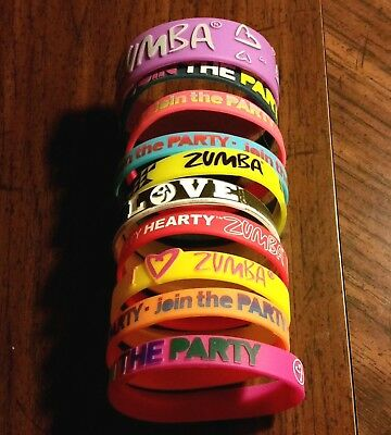 Zumba Wristband Lot Of 10 Assorted Colors