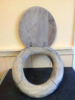 ANTIQUE 19th CENTURY JOINTED & PEGGED WOOD TOILET SEAT WITH WOODEN LID COVER