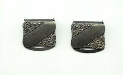 Set of 2 - Antique Sterling Silver Carter Howe & Co Repousse Suspender Clips