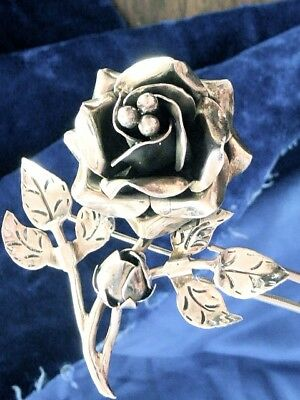 Vintage Sterling Silver Old Mexico Hallmarked Rose Pin Brooch On Branch