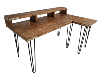 Industrial Style Corner Desk Reclaimed Wood Hairpin Legs Custom built to size