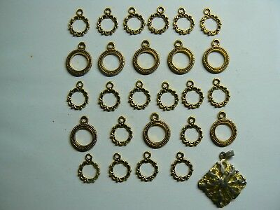 Large job lot of gold plated pocket watch chain frame fobs ready to use
