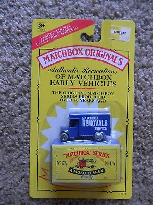 "Sealed MAKO Lesney MATCHBOX ORIGINALS SERIES No 17A The ""O"" Type Bedford Removal"