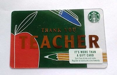 New Starbucks Gift Card Thank You Teacher No Value Loadable