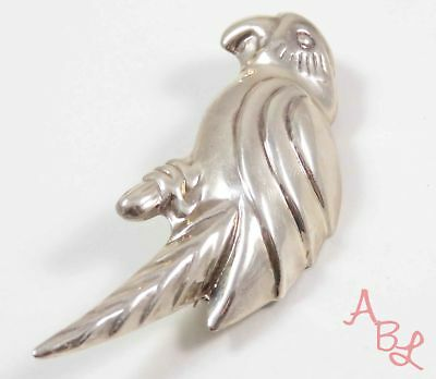 Sterling Silver Vintage 925 Puffed Parrot Pin Brooch (10.9g) - 727278