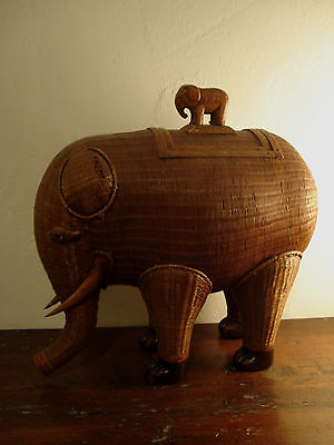 Wicker Woven Vintage Elephant Box with Small Baby Rider Elephant China