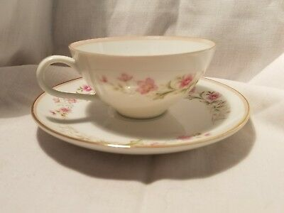 Grant Crest Fine China of Japan DIANNE Pink Band Flowers Cup & Saucer (1)