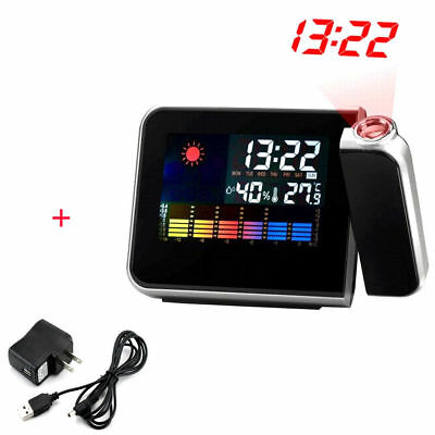 LCD Snooze Weather Alarm Clock Projection Digital Color Display LED Backlight