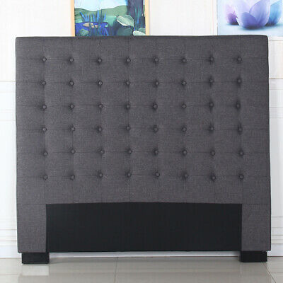 Cilantro Charcoal Headboard Upholstered King Size Bed Head Fabric For Base/Frame