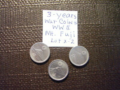 (3 WW ll War Coins) Mt. Fuji 1-Sen 1941,1942 and 1943  From Old Japan  Lot X-2