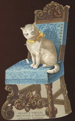 Large Die Cut Victorian Chair & Kitty Trade Card, Gillies & Schultz, Newburgh Ny