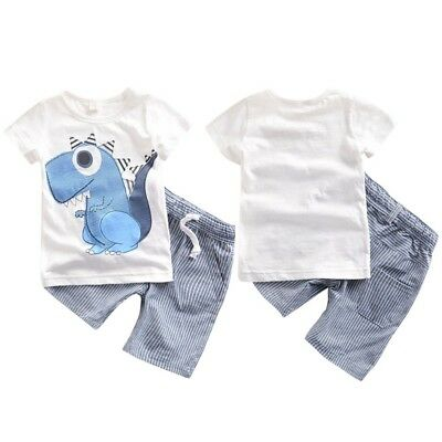 2PCS Toddler Boy Kids Dinosaur T-shirt+Striped Shorts Casual Outfits Clothes Set
