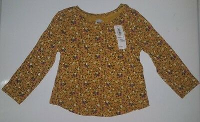 Girl's Old Navy Jersey Scoop-Neck Tee Size 18-24M NWT Mustard Yellow Floral