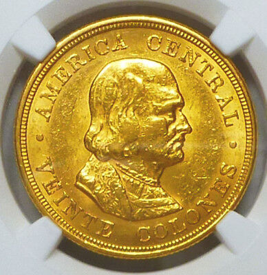 Costa Rica Gold 20 Colones 1899 AU 55 NGC