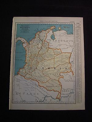Vintage 1940 Color Map of Columbia from Colliers World Atlas