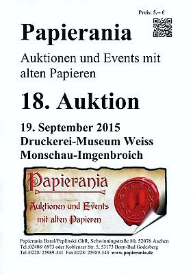 Papierania Auktionskatalog 18. Auktion September 2015