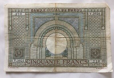 """50 Francs from Morocco French Colony 1947 """"Banque D""""Etat Du Maroc"""""""