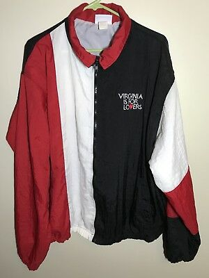 Vintage 80s Virginia Is For Lovers Embroidered Nylon Windbreaker Jacket Men's XL