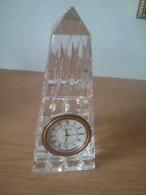 Rare discontinued Waterford Crystal obelisk clock/paperweight