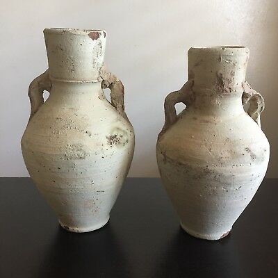 Antique PAIR Greco Roman Style Amphora Pottery Oil Lamps Vases Greek Art WOW