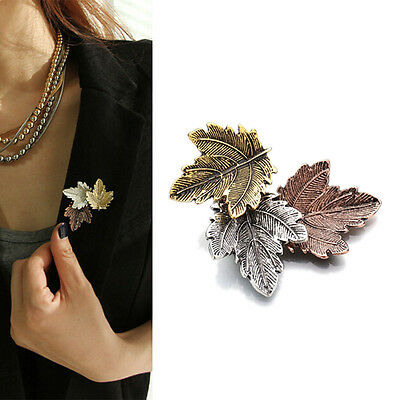 Women Vintage Maple Leaf Brooch Gold Silver Plated Brooches Pins Dance Party