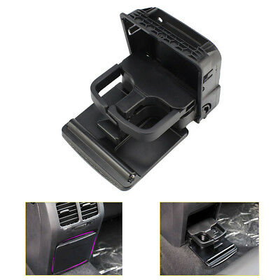 Black Rear Armrest Central Console Cup Holder for VW Jetta MK5 Golf MK6