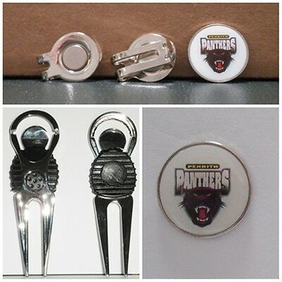 2 only PENRITH PANTHERS  GOLF BALL MARKERS +  A NICE  DIVOT TOOL &  HAT CLIP SET