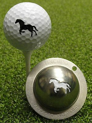 1 only TIN CUP GOLF BALL MARKER - GIDDY UP HORSE  EASY TO DO