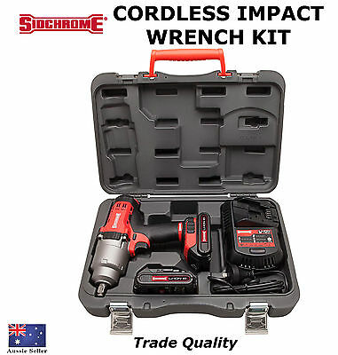 Sidchrome Cordless Impact Gun Kit Trade Quality Tools Wrench Special