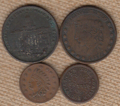 (2) Wounded Hard Times Tokens and (2) Civil War Tokens