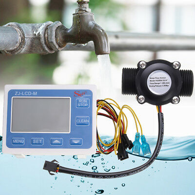 G3/4'' Flow Water Sensor Meter Digital LCD Display Quantitative Control 1-60L/m
