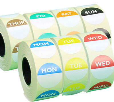 Day Dot Food Date Rotation Hygiene Labels in Packs,25mm Circles Mon to Sun