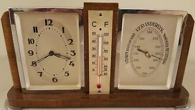 Vintage Working Dutch Mid Century Art Deco Clock Barometer Thermometer Desk Set