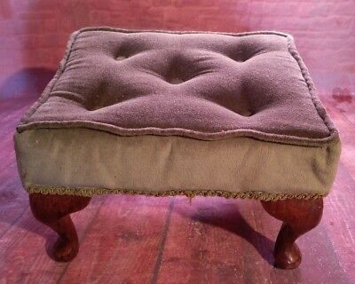Vintage Retro Foot Stool Seat Wooden Cabriole Legs  Piano Make Up Green Material
