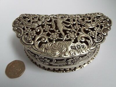 Superb Rare Large Clean English Antique 1895 Solid Silver Pot Pourri Table Box