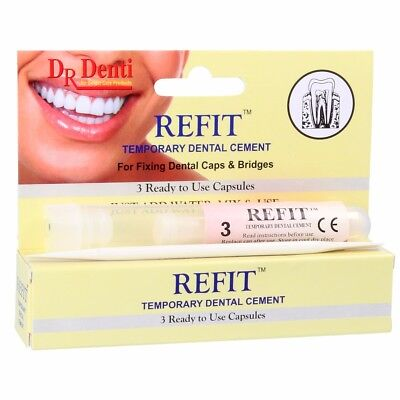 DR DENTI REFIT Temporary Dental Cement Cap Bridge Repair Denture Inlay Onlay