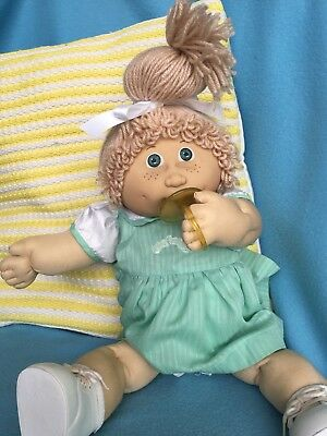Beautiful Jesmar Pacifier Girl With Freckles And Dressed In Authentic Cpk Dress
