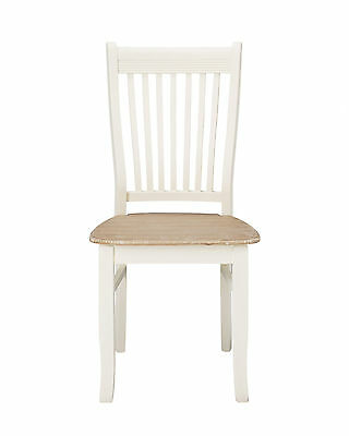 Pair Of Louis White Painted Slatted Back Dining Chairs - French Shabby Chic