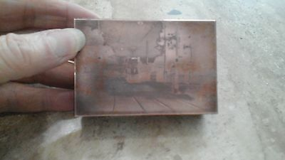 Vintage Copper Faced Wooden Printing block Level Crossing with Tram?